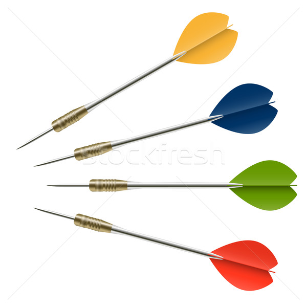 дартс цветами зеленый синий красный стрелка Сток-фото © opicobello