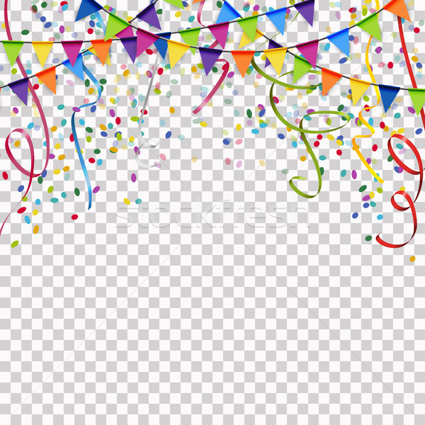 garlands, streamers and confetti background with vector transpar Stock photo © opicobello