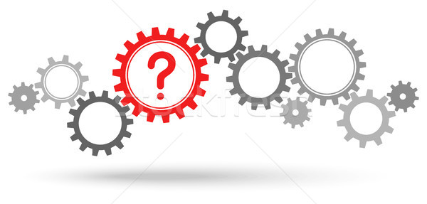 gray gears with red question mark Stock photo © opicobello