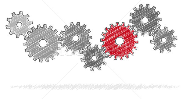 scribble gears for cooperation symbolism Stock photo © opicobello