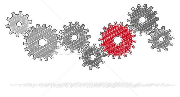 歯車 協力 シンボリズム グレー チームワーク 赤 ストックフォト © opicobello