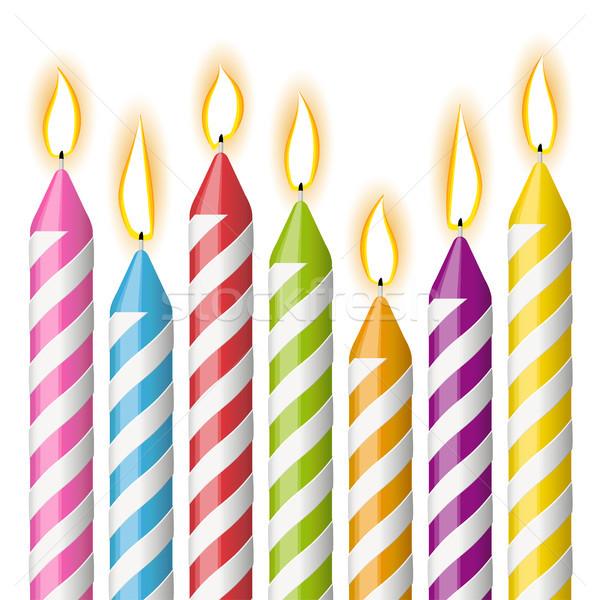 Raccolta colorato candele diverso compleanno decorazione Foto d'archivio © opicobello