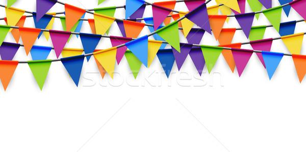 Színes buli girland fesztivál születésnap háttér Stock fotó © opicobello