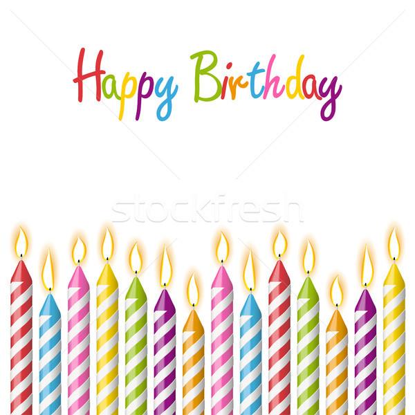 Feliz aniversário velas diferente texto festa Foto stock © opicobello