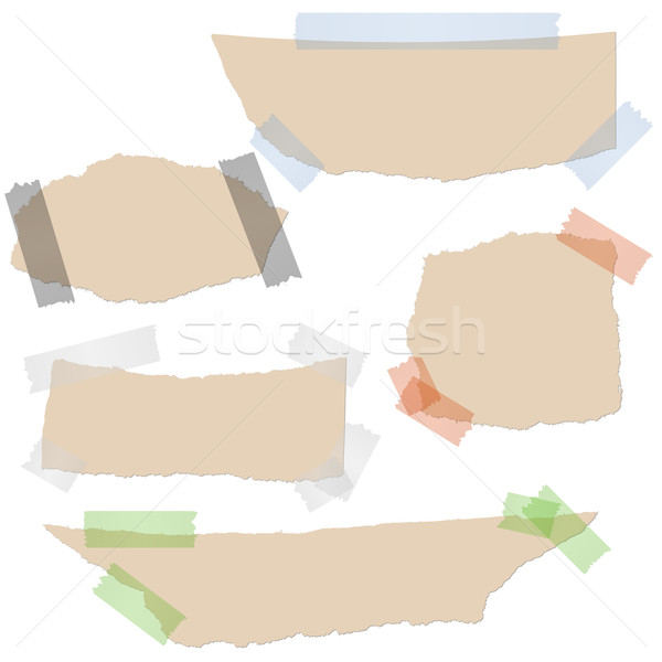 Stock photo: Collection - brown scraps of paper with tape