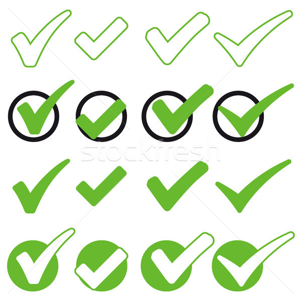 collection green check marks Stock photo © opicobello