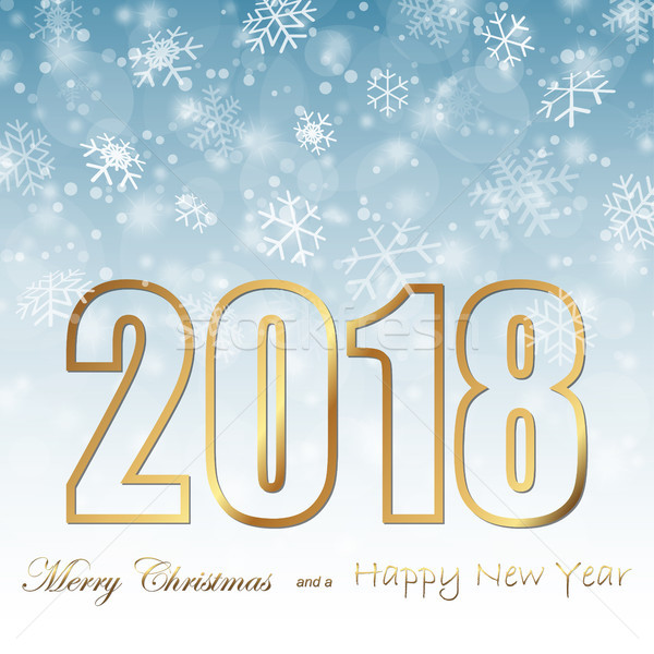 snow fall background for christmas and New Year 2018 Stock photo © opicobello
