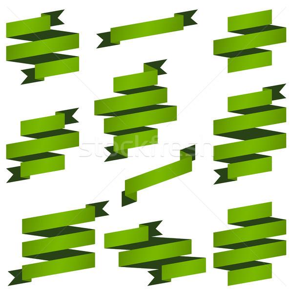 Collectie groene banners groot retro vector Stockfoto © opicobello