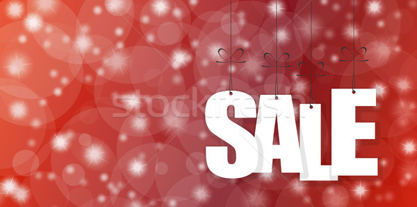 SALE hang tags on red background Stock photo © opicobello