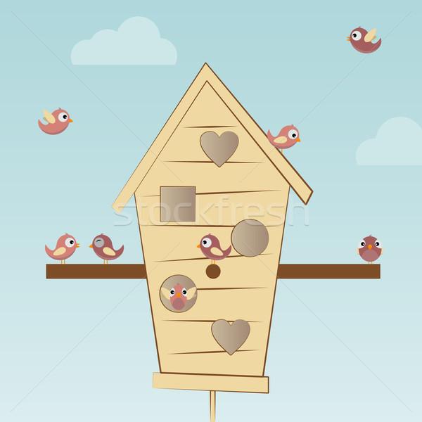 Birds House with many birds Stock photo © opicobello