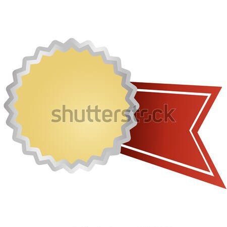 silver button with ribbon Stock photo © opicobello
