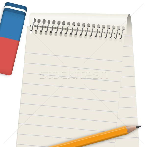 Block with pencil and eraser Stock photo © opicobello