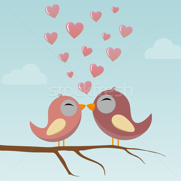 Madarak szeretet tavasz természet piros kártya Stock fotó © opicobello