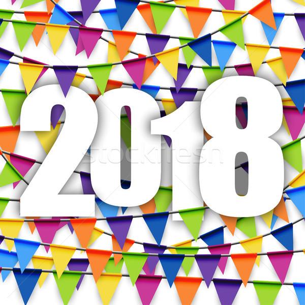 garlands background New Year 2018 Stock photo © opicobello