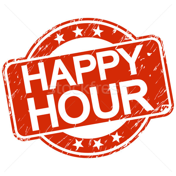 red scratched stamp happy hour Stock photo © opicobello