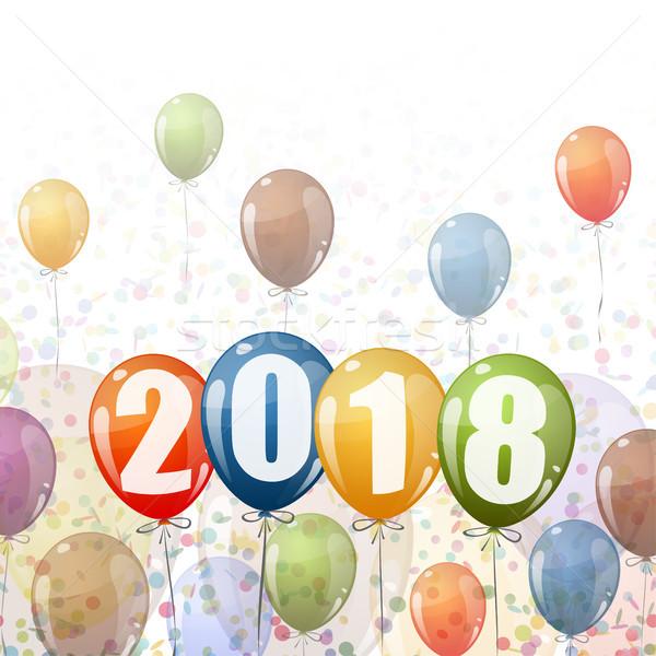 Nieuwjaar ballonnen confetti gekleurd nummers tijd Stockfoto © opicobello