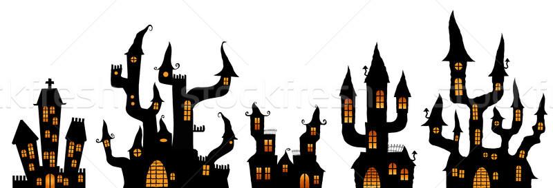 Különböző halloween kastélyok gyűjtemény fekete színes Stock fotó © opicobello