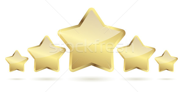 Stock photo: five golden stars with shadow in a row