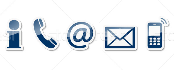 contact us icon set Stock photo © opicobello