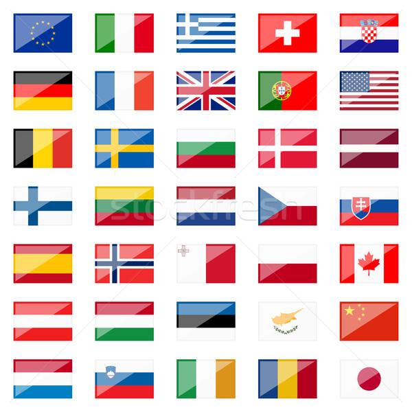 Collectie land vlaggen reflectie kleuren knop Stockfoto © opicobello