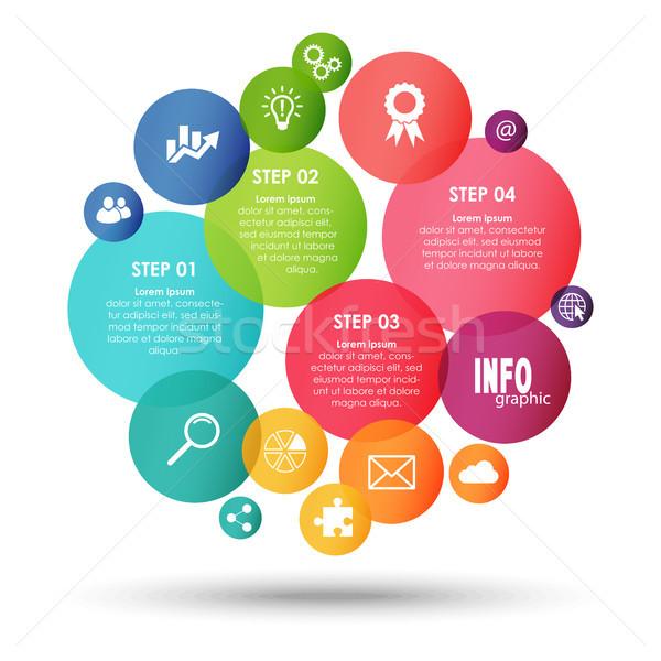 Színes üzlet info grafika buborékok együttműködés csapatmunka Stock fotó © opicobello