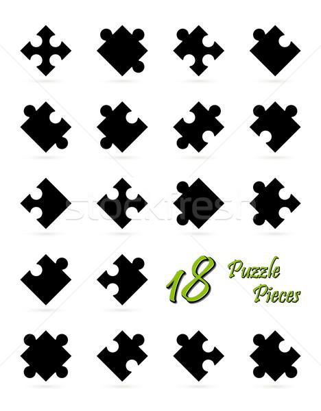 18 головоломки черный фон команда Сток-фото © opicobello