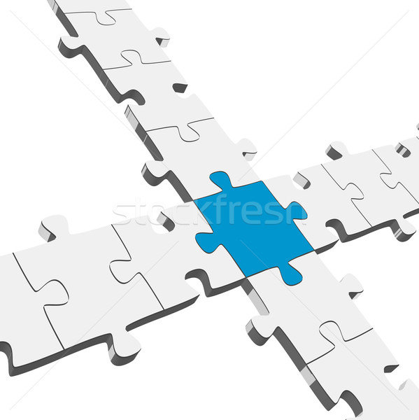 3D Puzzle Connection / Teamwork symbolism Stock photo © opicobello