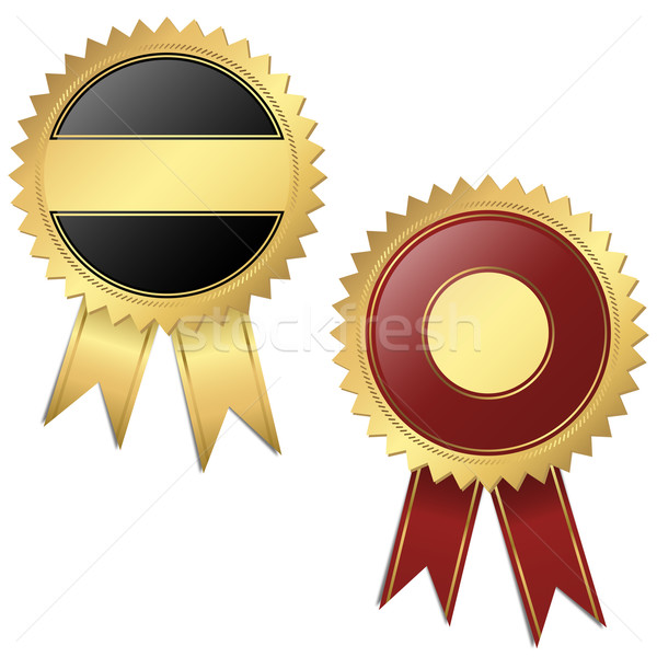 2 Templates - Quality seal black and red Stock photo © opicobello