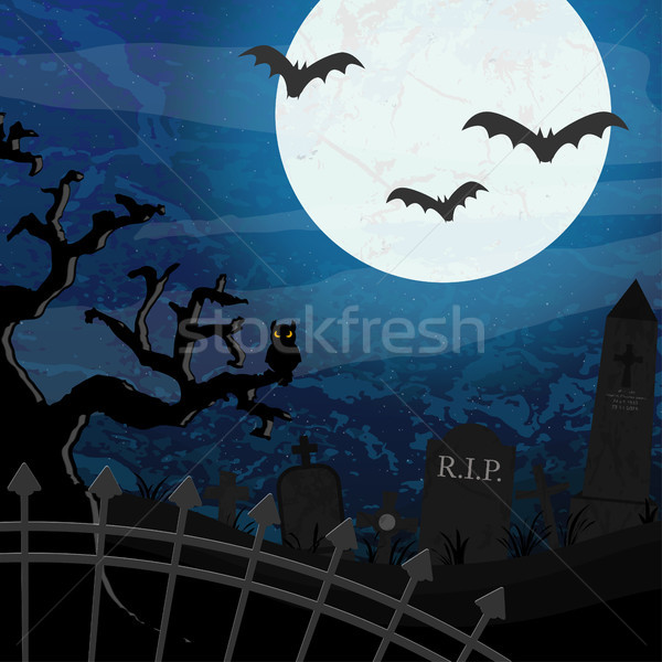 Halloween graveyard and bats in front of full moon Stock photo © opicobello