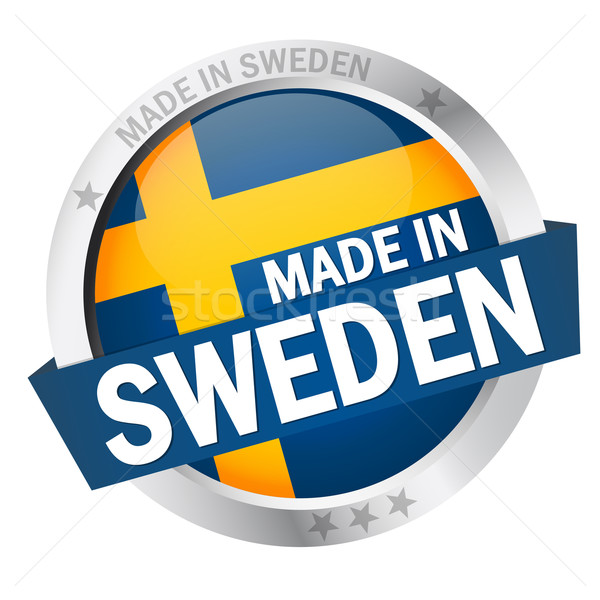 Button with Banner MADE IN SWEDEN Stock photo © opicobello