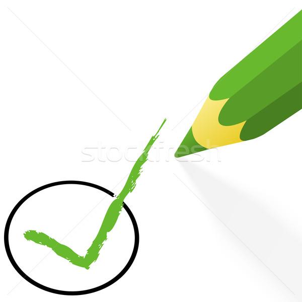Elección verde lápiz gancho pluma cruz Foto stock © opicobello