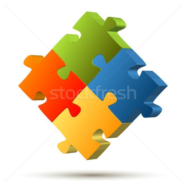 パズル 4 チームワーク シンボリズム 抽象的な ストックフォト © opicobello