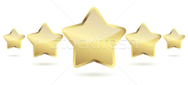 five golden stars with shadow in a row Stock photo © opicobello