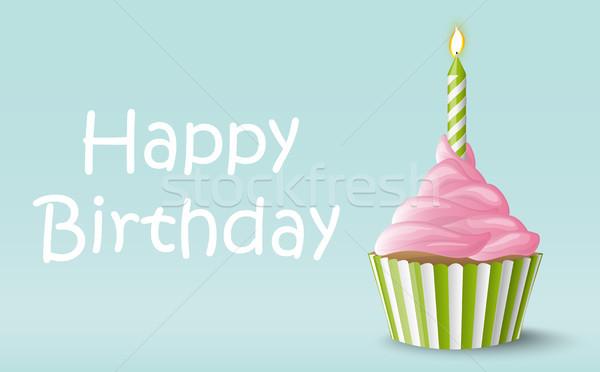 Buon compleanno candela dolce vettore colorato Foto d'archivio © opicobello