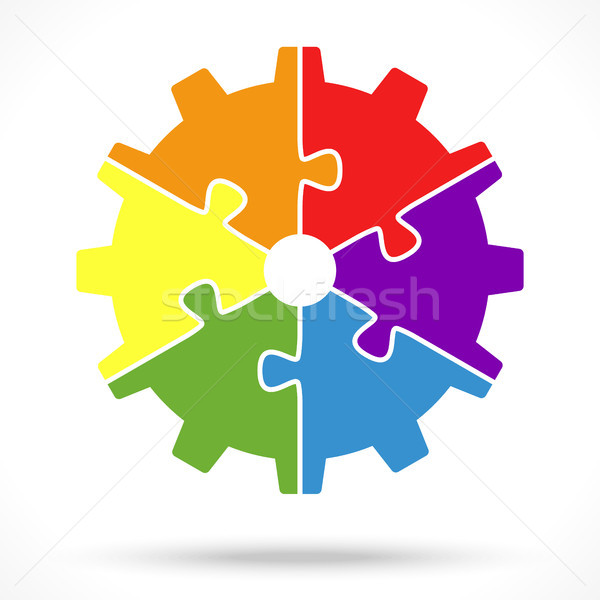 puzzle gear wheel for teamwork symbolism Stock photo © opicobello