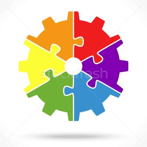 Puzzle narzędzi koła zespołowej symbolizm sześć Zdjęcia stock © opicobello