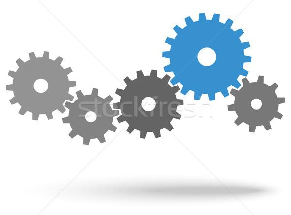 歯車 協力 シンボリズム グレー チームワーク 青 ストックフォト © opicobello