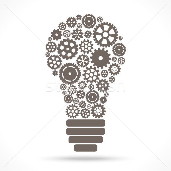 light bulb with gear wheels Stock photo © opicobello
