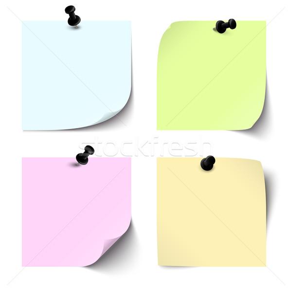 Collectie gekleurd sticky notes kantoor papier Blauw Stockfoto © opicobello