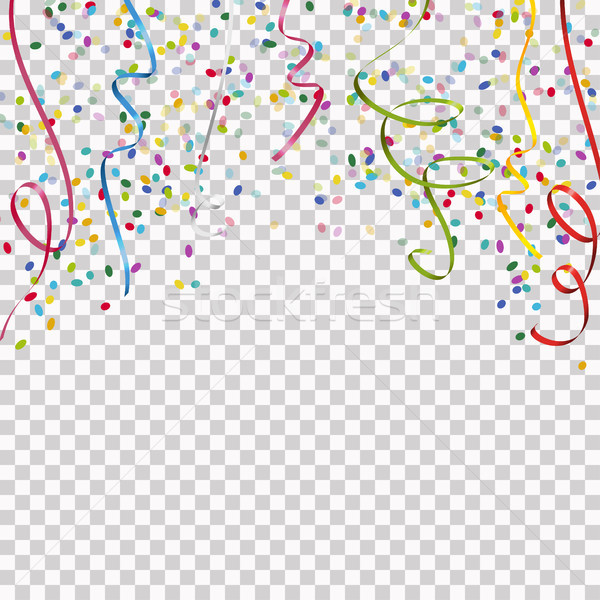 colored streamers and confetti background with vector transparen Stock photo © opicobello