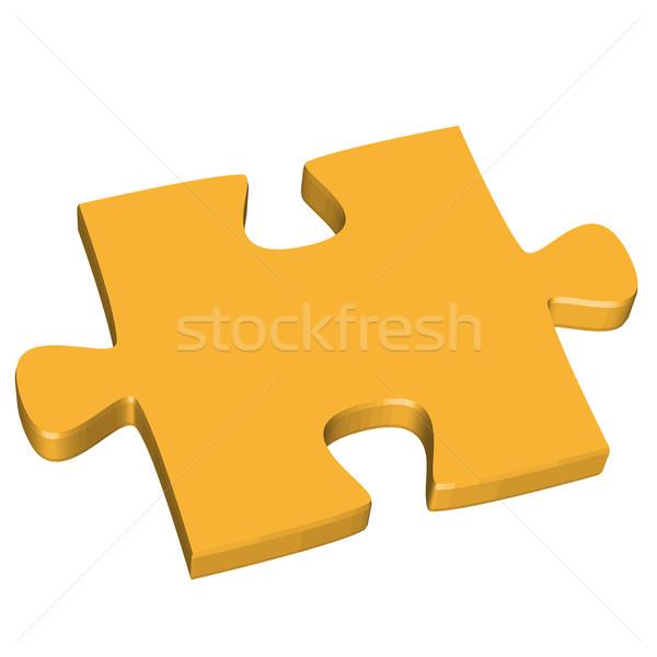 3D puzzle piece yellow Stock photo © opicobello