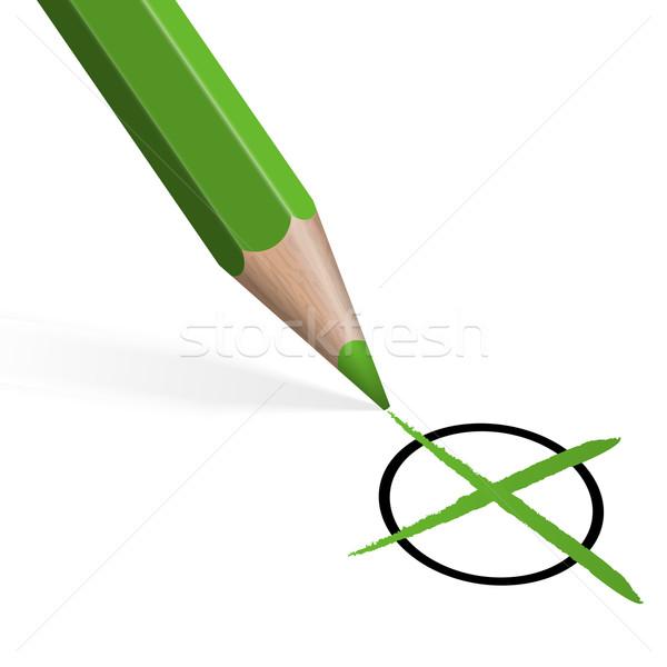Verde crayon atravessar assinar vermelho branco Foto stock © opicobello