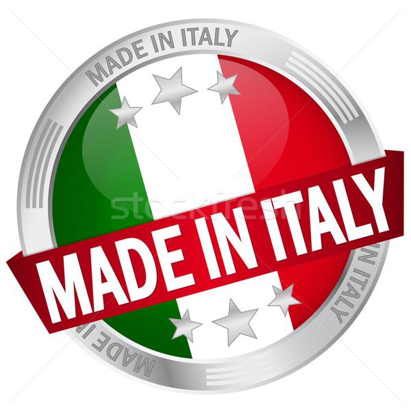 Gomb szalag Olaszország háló zászló szolgáltatás Stock fotó © opicobello