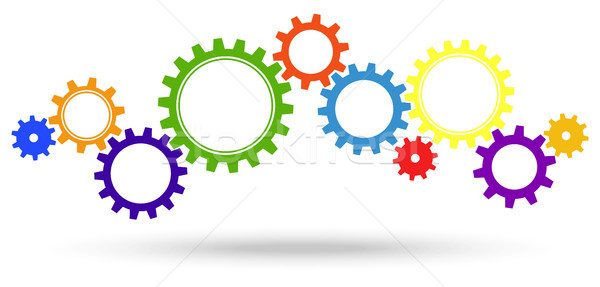 colored gears for cooperation symbolism Stock photo © opicobello