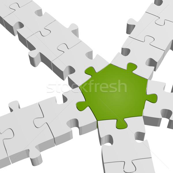 3D パズル 接続 チームワーク シンボリズム 抽象的な ストックフォト © opicobello