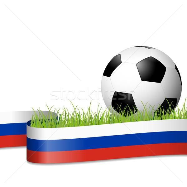 soccer ball behind russian banner Stock photo © opicobello