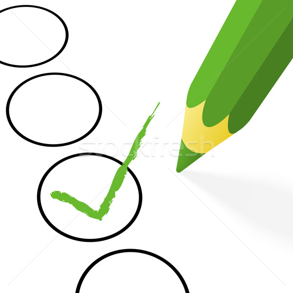 Keuze groene potlood haak pen kruis Stockfoto © opicobello