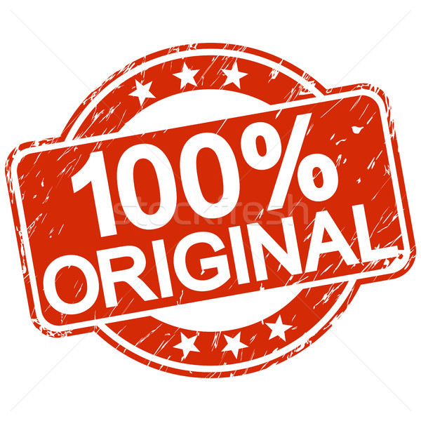 Rouge tampon 100 originale texte Ouvrir la Photo stock © opicobello