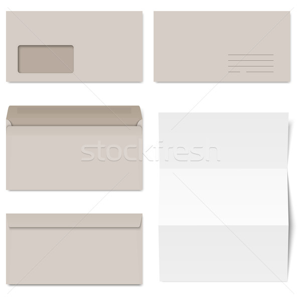Collection of gray envelopes and white paper Stock photo © opicobello