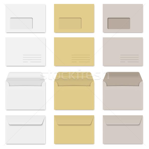 Gyűjtemény fehér barna szürke üzlet papír Stock fotó © opicobello